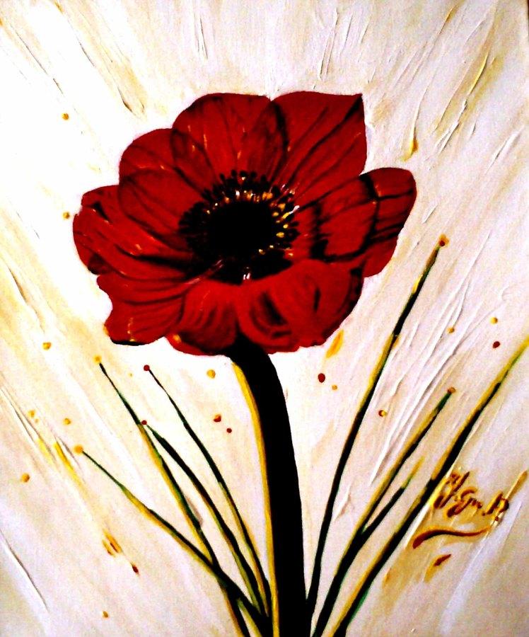 Coquelicot Stylisé Fond Clair Toiles Tableaux Peinture