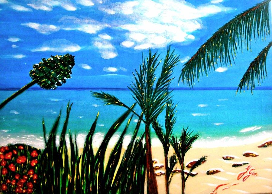 Plage de r ve toiles paysages tableaux original sur toile peinture acrylique format 50x70 - Tableaux mer et plage ...